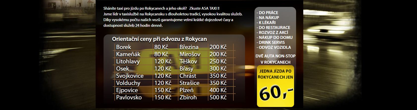 TAXI Rokycany - ceník