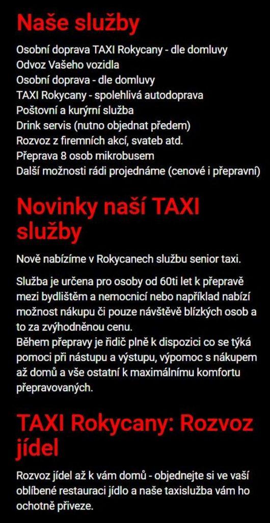 TAXI Rokycany taxislužby